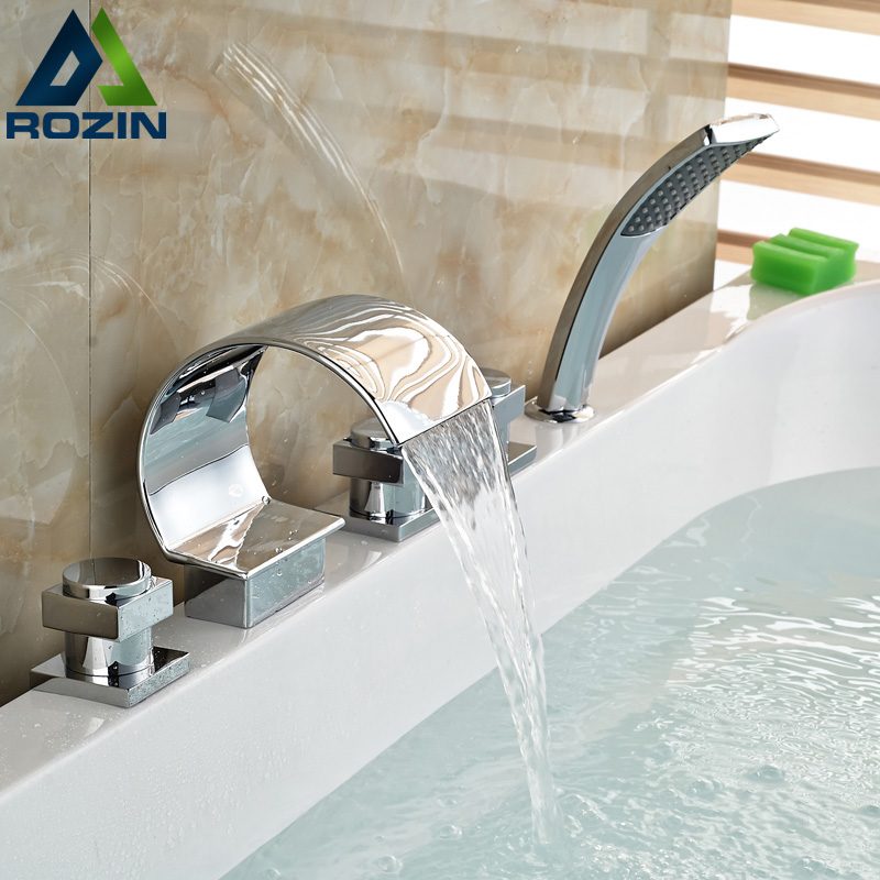 все цены на Deck Mount Waterfall Spout Bathtub 5pcs Faucet 3 Knobs Mixer Tap with Handheld Shower Head онлайн