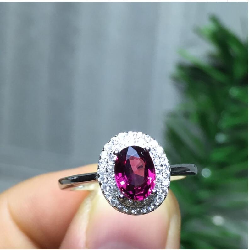 Natural Garnet finger ring Free shipping Natural real garnet Ring 925 sterling silver 5*7mm gem For men or women ring chic artificial gem shell embossed ring for women