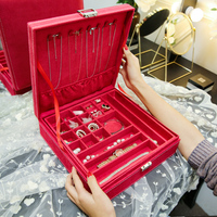 ANFEI free shipping red fabric velvet ring earring jewelry storage box 2 layers velvet jewelry display tray bins with cover C02