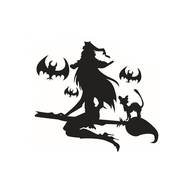 happy halloween witch and bats tomb wall decals window stickers halloween decorations - Happy Halloween Stickers