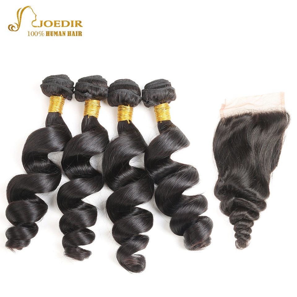 Joedir Peruvian Hair with Closure Human Hair Bundles with Middle Part Lace Closure Loose Wave 4 Bundles with Closure Free Ship