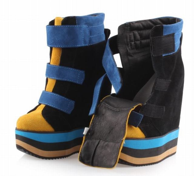 Genuine Leather Suede High Platform Hidden Wedge High Top Sneaker