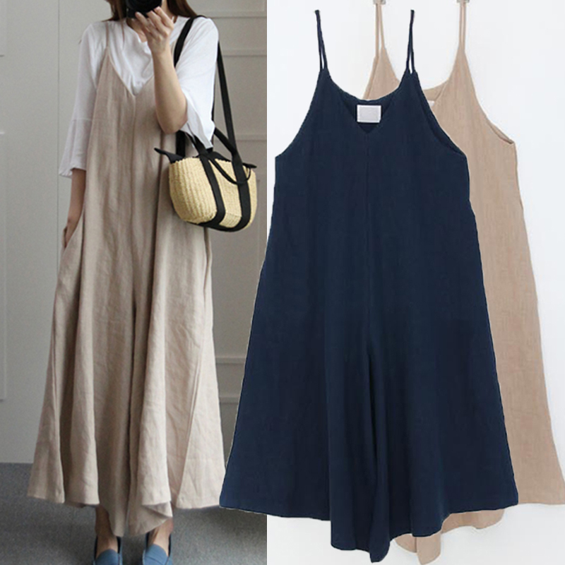 Summer Rompers Women Wide Leg Pants Vocation Strappy Dungarees Casual Pockets Cotton Linen Jumpsuits Long Trouser Loose Overalls