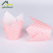 50Pcs Disposable Paper Cake Decoration Tool Mold Tulip Flower Chocolate Cupcake Wrapper Baking Muffin Liner