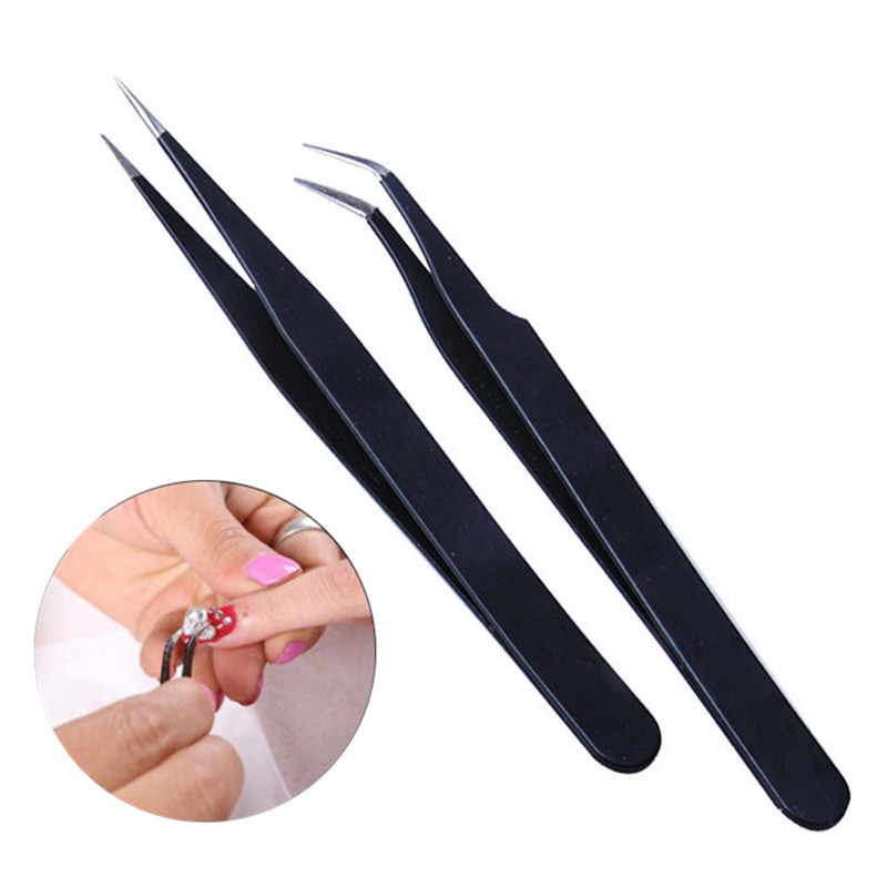 Professional Black Straight/Curved Acrylic Tweezers Nail Art Rhinestones Sequin Decoration Selection Pick Tool DIY Clip Makeup