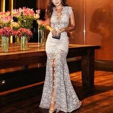 Женское длинное платье с v-образным вырезом, вечерние платья подружки невесты, официальное свадебное винтажное элегантное тонкое белое кружевное платье с разрезом