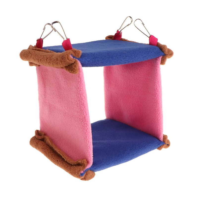 Parrot Birds Hammock Soft Plush Snuggle Hanging Poultry Cave Swing Triangular Toy Cage Bunk Bed For Pets Small Animals Cages in Cages from Home Garden