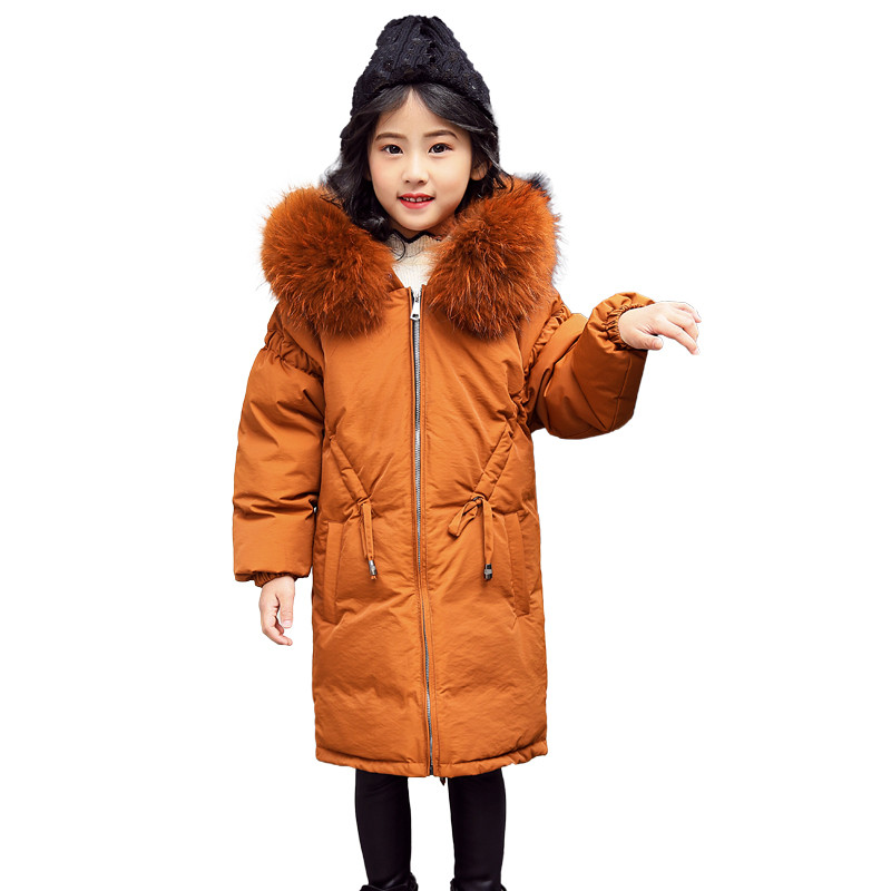 New Winter Warm Thick Cotton-Padded Girls Fur Collar Down Long Jacket Child School Keep Warm Snow Hooded Clothes For Teenage 2017 winter coat women parka long thick warm cotton jacket large fur collar hooded warm parkas cotton padded outerwear hn137