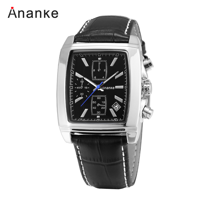 Ananke Mens Watches Leather Strap Men's Watches Sports Square Men Quartz Watch Military Wrsit Watch Relogio Masculino