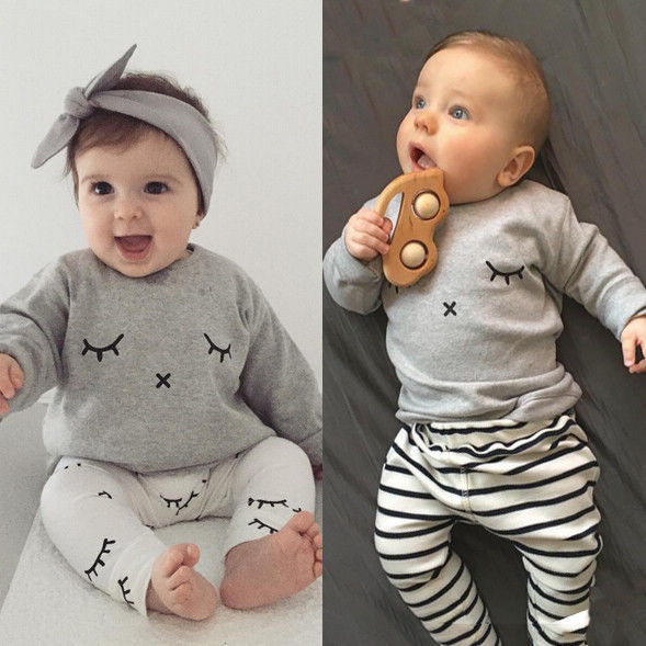 0-2Y Newborn Kids smile printed sets Baby Boys Girls Clothes T-shirt Tops + Pants Outfits Sets 2Pcs