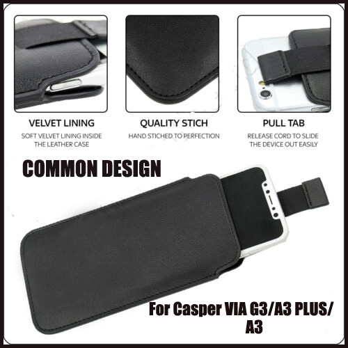 Casteel PU Leather Case For Casper VIA G3 A3 PLUS A3 Pull Tab Sleeve Pouch Bag Case Cover image
