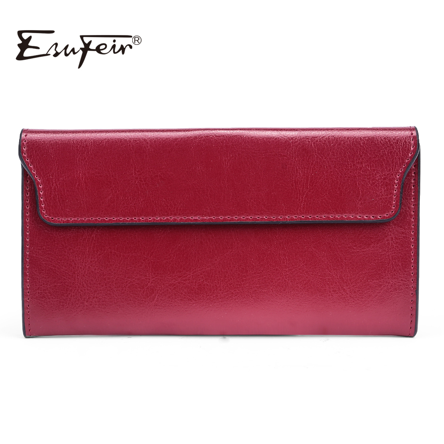 ESUFEIR 2017 Genuine Leather Women Wallet Long Purse Vintage Solid Cowhide multiple Cards Holder Clutch Fashion Standard Wallet