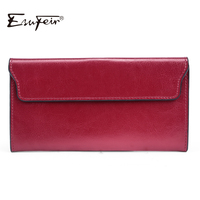 ESUFEIR 2017 Genuine Leather Women Wallet Long Purse Vintage Solid Cowhide Multiple Cards Holder Clutch Fashion