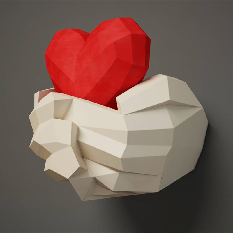 30min Complete DIY 3D Hands With Heart Paper Sculpture Papercraft Puzzle Toy Educational Paper Folding Model Toy Christmas Gift