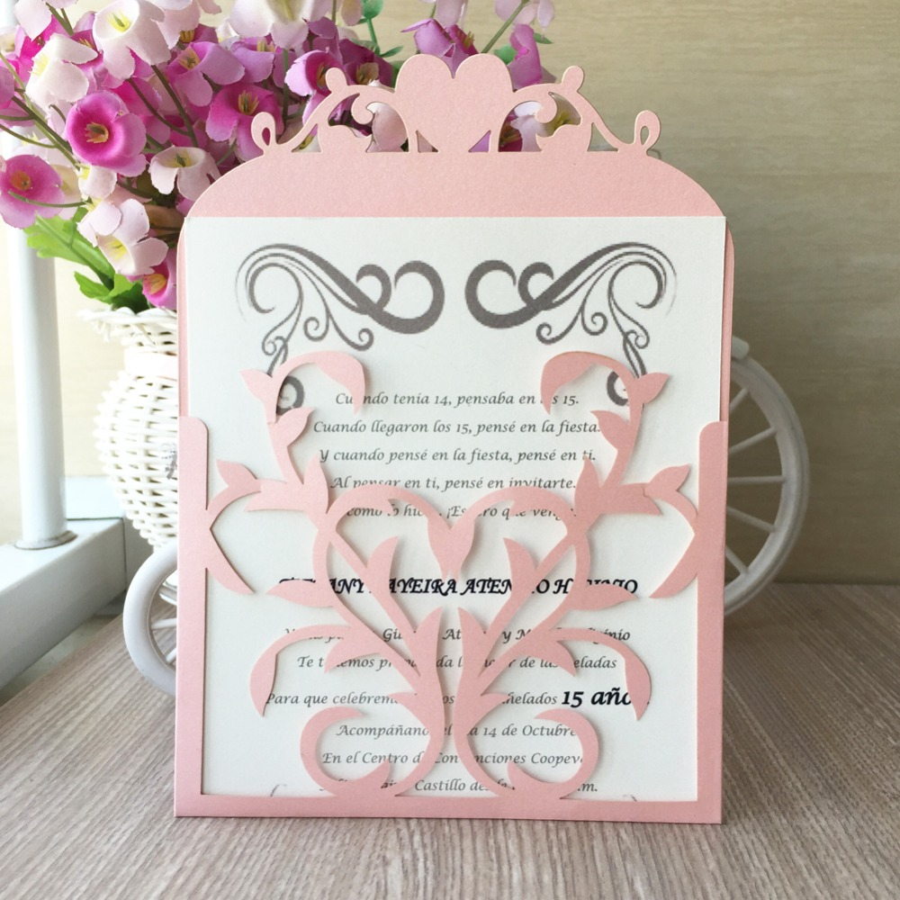Us 26 84 41 Off 30pcs Latest New Arrived Laser Cut Colorful Pearlized Paper Wedding Engagement Party Birthday Decoration Place Invitation Card In