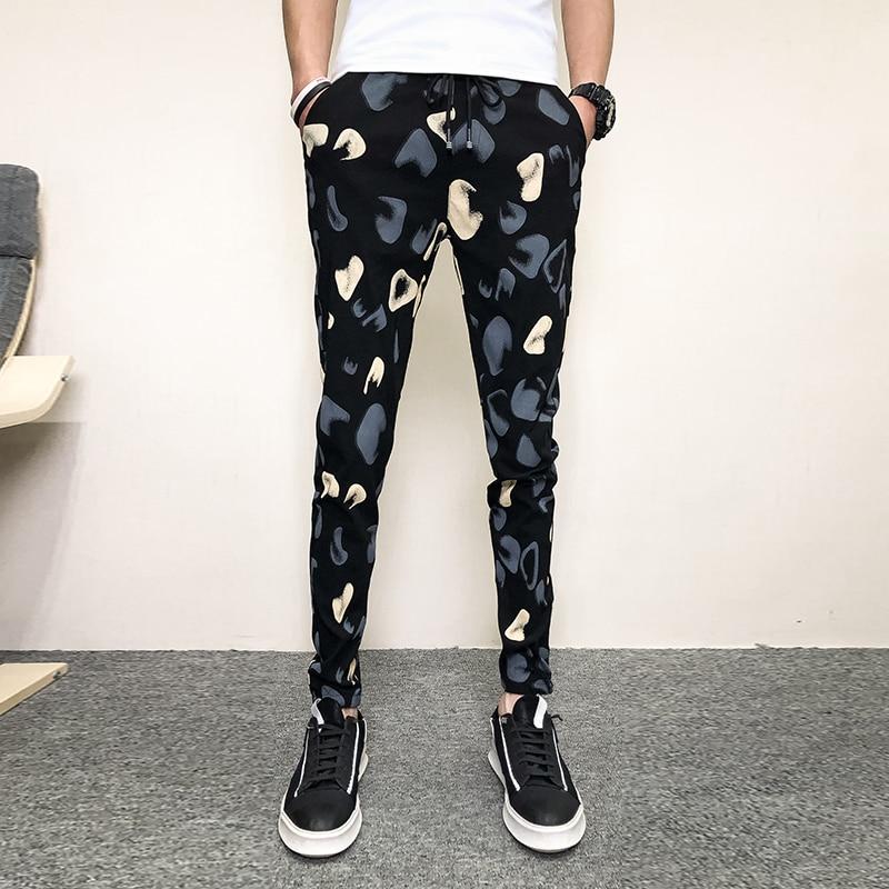 Fashion 2019 Summer Pants Men Brand New Slim Fit Harem Pants Men Ankle Length Simple All Match Print Men's Trousers Black/Red 34