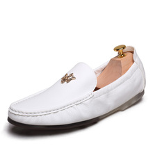 New Brand Men's Shoes Genuine Leather Casual Loafers Breathable Comfortable Men Flats Fashion Boat Driving Shoes Loafers Yellow