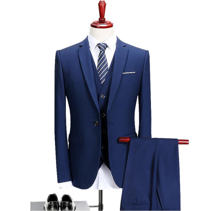 2019 Men's Blue Dinner Suit Fashion Men Custom Slim Fit Casual Tuxedo Business Costume Suit Mens Wedding Groom 3 Piece Suits