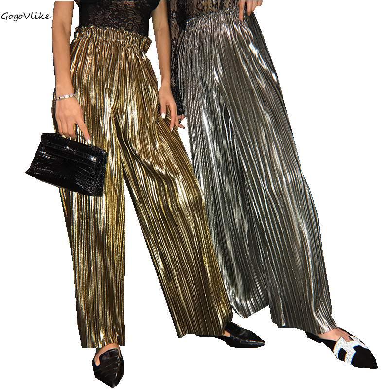 Bling Silver/Gold Pleated Pants 2018 New Summer Vintage Dance Women Trousers Wide Leg Pants for women Drap trousers LT511S30