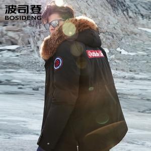 Image 4 - BOSIDENG NEUE rauen winter gans unten jacke für männer verdicken outwear echtpelz mit kapuze wasserdicht winddicht hohe qualität B80142143