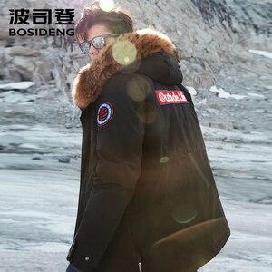 Image 4 - BOSIDENG nouvelle veste en duvet doie dhiver pour hommes épaissir vêtements dextérieur vraie fourrure à capuche imperméable à leau coupe vent de haute qualité B80142143
