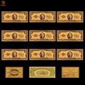 10 pçs/lote 1928 cor eua notas de ouro 2 dólar dinheiro réplica banhado a ouro presente de negócios coleções