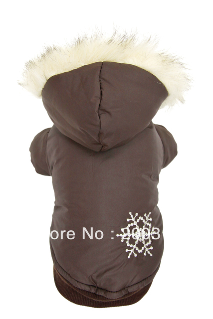 Retail New coffee snow bristles sided coat for dog Free shipping dogs dress costumes
