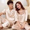 Сексуальный Атласный Шелк Любителей Пижамы Мужчин и Женщин Половина Рукав Пижамы Наборы Пара Пижамы Топы и Брюки Пижамы S5 Шампанское