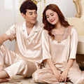 Sexy Satin Silk Lovers Sleepwear Women and Men Half Sleeve Pajama Sets Couple Pajamas Tops and Pants Nightwear S5 Champagne