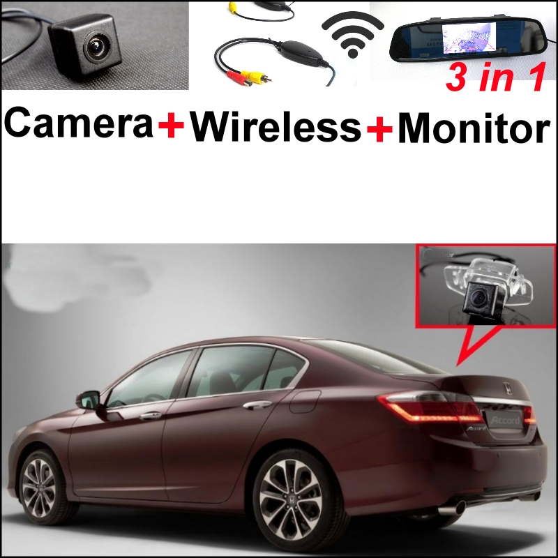 3 in1 Special Rear View Camera + Wireless Receiver + Mirror Monitor  Parking System For Honda For Accord 9 Generation 2014~2015 wireless pager system 433 92mhz wireless restaurant table buzzer with monitor and watch receiver 3 display 42 call button
