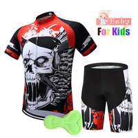 2018 Boys Skull Cycling Jersey Set for Kids Team Children Cycling Kits Sports Outdoor MTB Mini Bicycle Children's Clothing Sets
