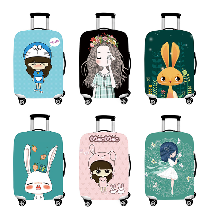 Travel Accessories Trunk Lid Suitcase Cover Trolley Box Dust Cover Case Cover Tourism Luggage Protection Set Cute Girl Pattern