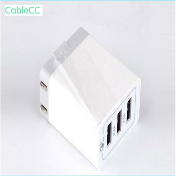 10PCS/ 3.0 fast charge charger 3-port charger 2.4A three usb mobile phone charging head