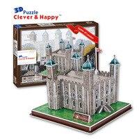 2014 nieuwe clever & gelukkig land 3d puzzel model toren van londen volwassen puzzel boven 10 jaar diy papier model voor jongen papier