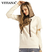 VITIANA Women Casual Pullovers Tops Hooded Autumn Hollow Out Sleeve Pocket Sweatshirt Female Elegant Clothing Velvet