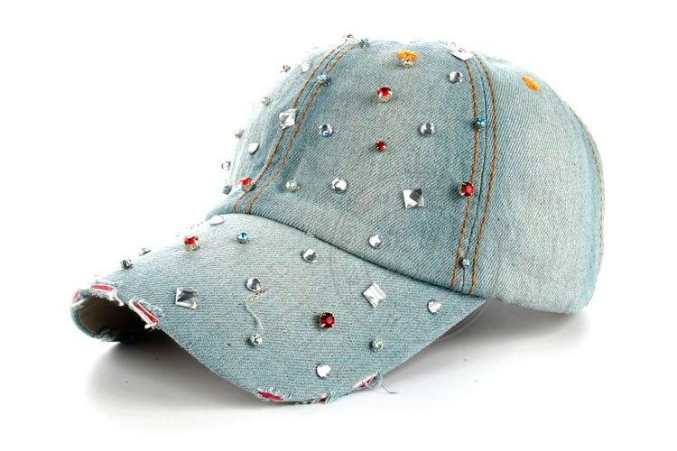 Высокое качество оптом и в розницу JoyMay шляпа Кепки Мода Досуг Стразы хлопок джинсовые кепки в горошек летние Бейсбол Кепки B229 - Цвет: Color no 1