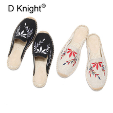 купить Hot Espadrilles Women Handmade Mules Slippers Retro Summer Ladies Casual Canvas Comfort Shoes Round Toe Embroidery Slides Shoes по цене 1682.24 рублей