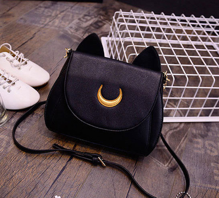 Moon Chain Cat Leather Messenger Crossbody Shoulder Bag Handbag