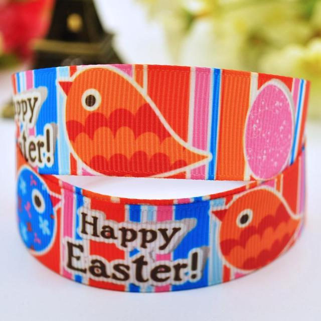 7/8'' (22mm) Happy Easter Cartoon Character printed Grosgrain Ribbon party decoration satin ribbons X-00089 10 Yards