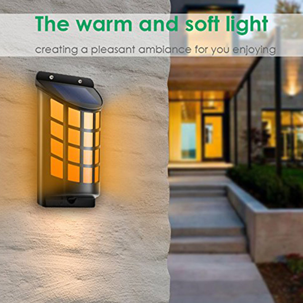 Solar Light Path Flame Light 66 LED Flickering Outdoor Waterproof Fence Garden Wall Lights CLH@8