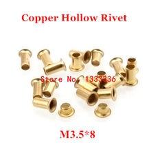 100 pces m3.5 * 8 (l) rebite oco de cobre 3.5mm placa de circuito de dupla face pcb vias pregos/cobre milho