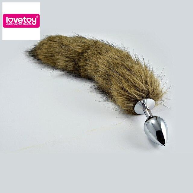 Lovetoy большой серебряный зажигания + коричневый 35 см лисохвост вытяжного кольца анальный анальная пробка анальные секс-товаров для женщин и мужчин RO-T01L
