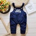 Los bebés varones denim pantalones bib 2016 de primavera nuevos guardapolvos de los niños para 1 2 3 años de edad niza algodón jeans B159