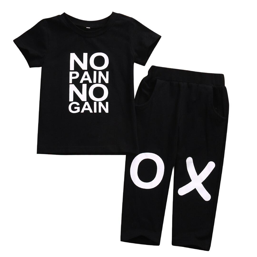 Дети для маленьких мальчиков милые наряды одежда No pain no gain Повседневное хлопковая Футболка Топ Брюки, 2 предмета Горячая