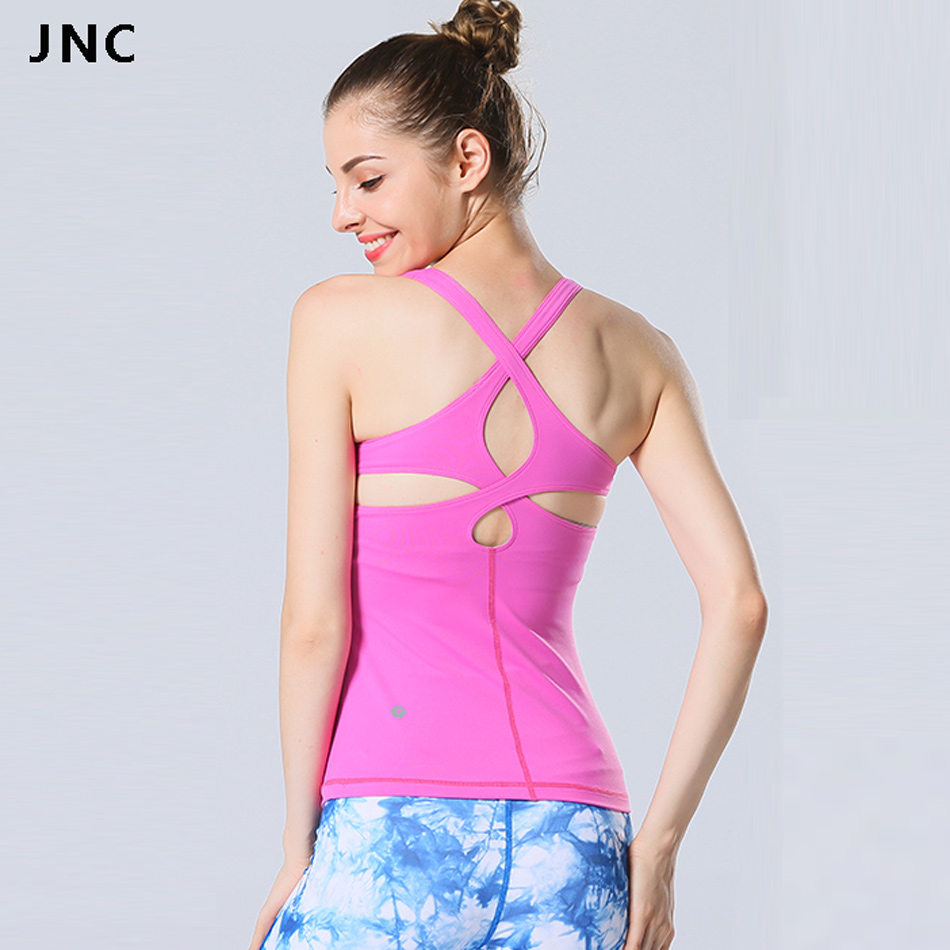 2017 Womens Yogagym Pink Top Shirts With Padded Sexy -1649