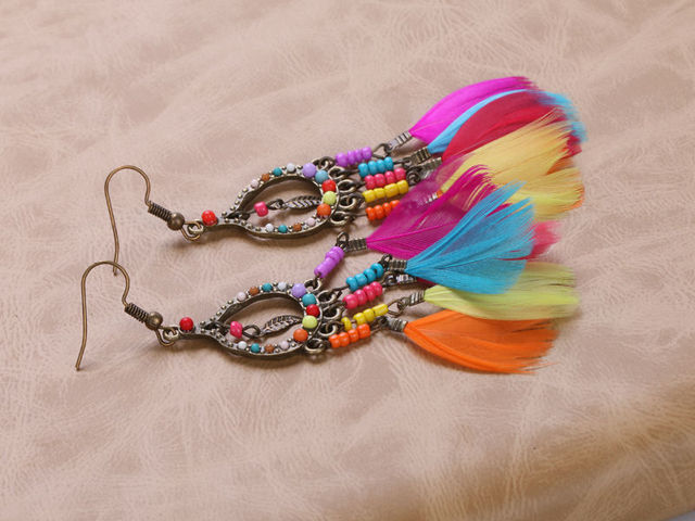 Colorful Feather Dangle Earrings