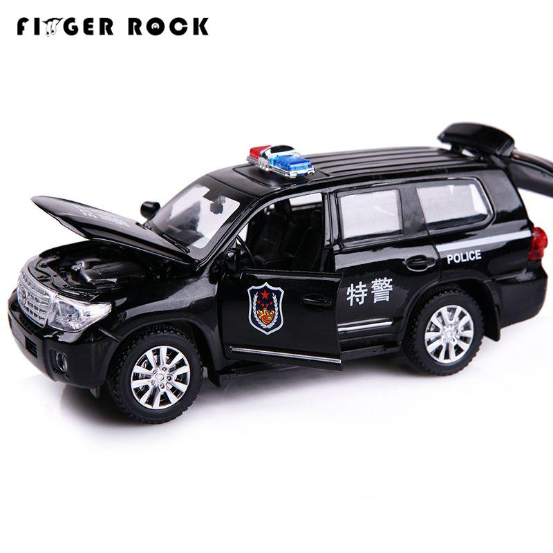 1:32 Land Cruiser Politi Modellbil Diecast Metal Trekk Tilbake Auto Toy 2 Fargesimulering Legering Car Birthday Gift for Children