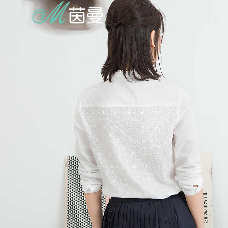 אינמן נשים חולצות ועדין רקום גבירותיי חולצה צווארון עומד כותנה חולצה ארוך שרוולים לבן השפל חולצה