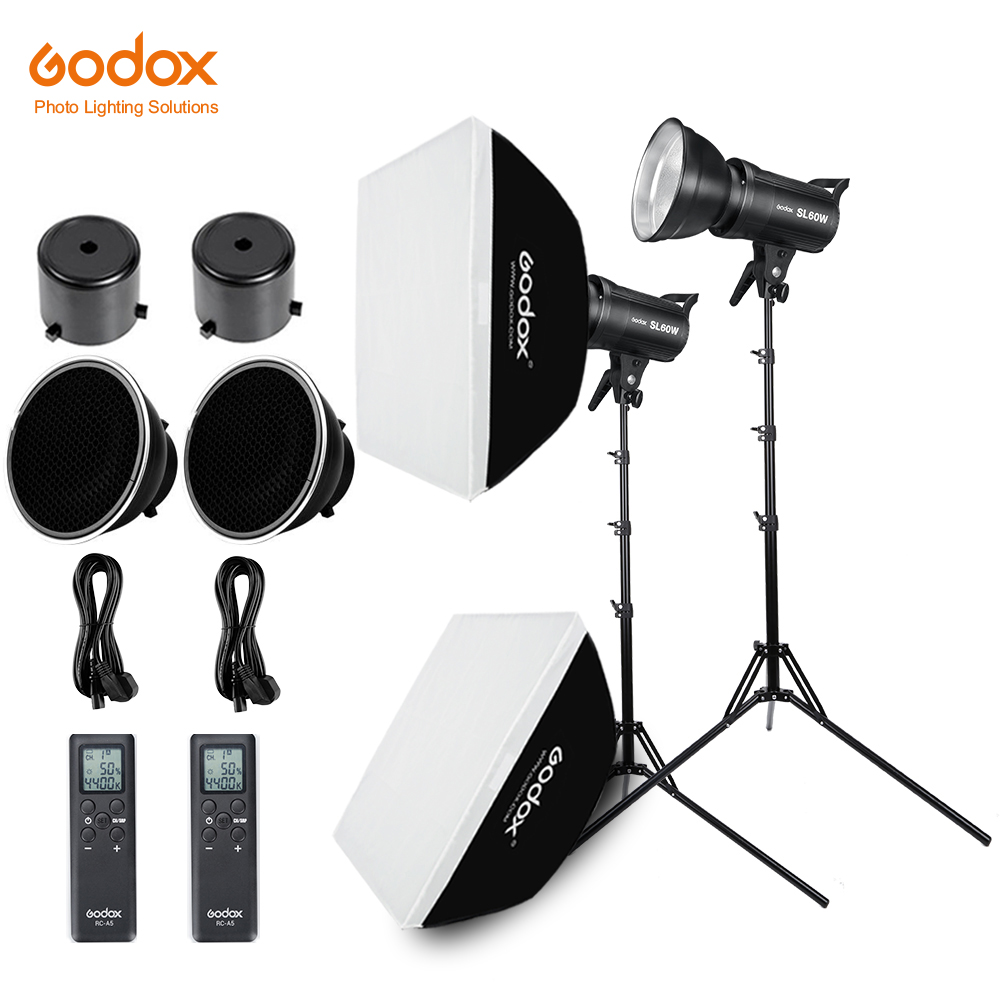 2x Godox SL 60W 60Ws 5600K Studio LED Continuous Photo Video Light 2x 1 8m Light