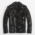 Men's Leather Jacket Sheep Leather Jacket Lapel Oblique Zipper Short Paragraph Slim Motorcycle Jacket